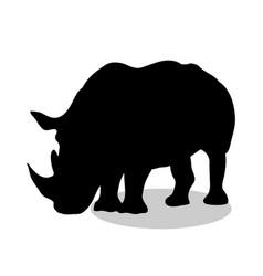 rhinoceros mammal black silhouette animal vector image