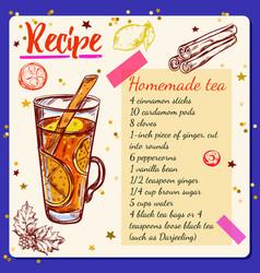 tea spices recipe vector image vector image
