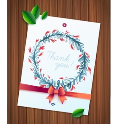 THANK YOU watercolor floral wreath ribbon and bow vector image