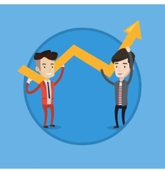 Two businessmen holding arrow going up vector image
