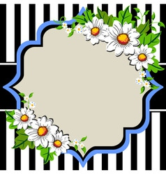 white daisy flowers frame with vector image