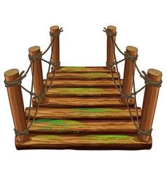 wooden bridge with green moss vector image
