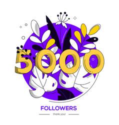5000 followers banner - modern flat design style vector