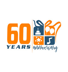 60 year gift box ribbon anniversa vector