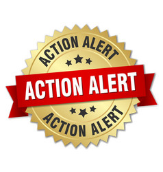 Action alert round isolated gold badge vector