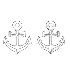 anchor outline icon and hand drawn sketch vector image