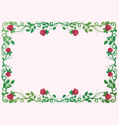 antique renaissance frame with red roses vector image