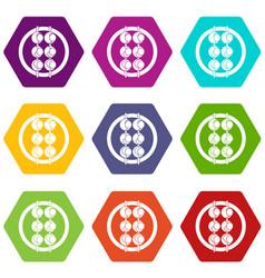 Asian shashlik icon set color hexahedron vector