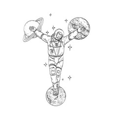 Astronaut wearing spacesuit crucified on planet vector