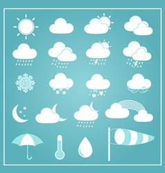 Basic Weather Icons on Blue Background vector image