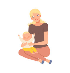 Blond mother and her bacharacter vector