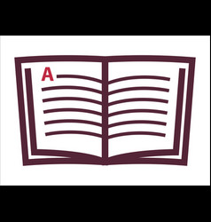 book open page with a letter line art icon vector image