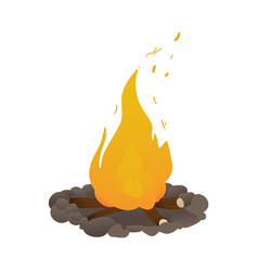 burning bonfire cartoon icon for camping vector image
