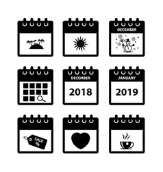 calendar icons for web design vector image