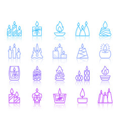 Candle flame simple color line icons set vector