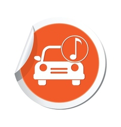 Car with music icon orange label vector