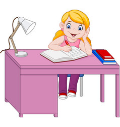 Cartoon little girl studying vector