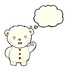 Cartoon unhappy polar teddy bear with thought vector