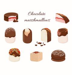 chocolate coated marshmallowand cakes in cartoon vector image