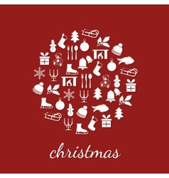 christmas icons in circle vector image
