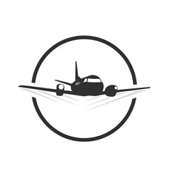 Circle travel plane logo template in blacn vector