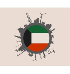 Circle with industrial silhouettes Kuwait flag vector