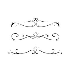 collection hand drawn decorative calligraphic e vector image