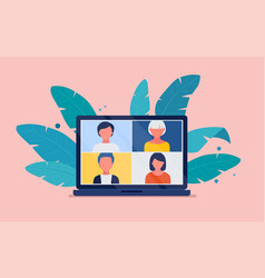 Collective virtual meeting on a computer screen vector