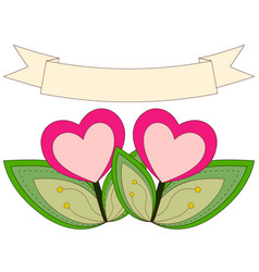 Colorful heart plants under ribbon with place for vector