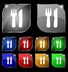 Crossed fork over knife icon sign Set of ten vector