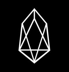crypto coin eos icon on black vector image
