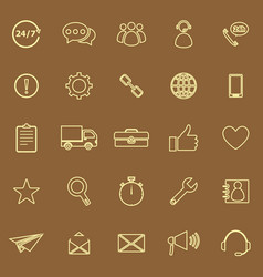 customer service line color icons on brown vector image vector image