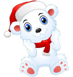 Cute christmas polar bear cartoon vector