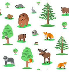 Cute forest animals seamless background pattern vector