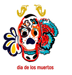 Day the dead skull banner or postcard vector