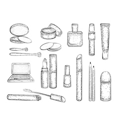 Detailed sketch of elements for make-up vector image