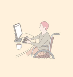 Disabled individual at work concept vector