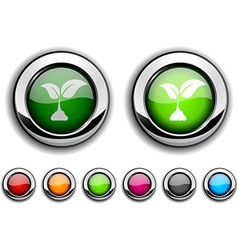 Ecology button vector image
