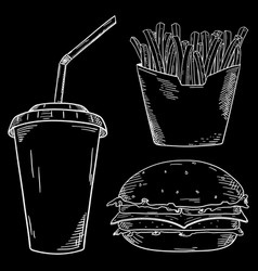 Fast food set white chalk sketch on blackboard vector