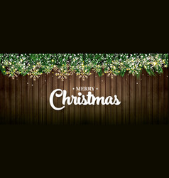 fir branch with neon lights golden garland with vector image