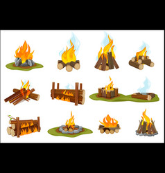 fireplace wooden light flame burned bonfire with vector image