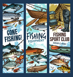 Fishing banner with equipment and fish vector