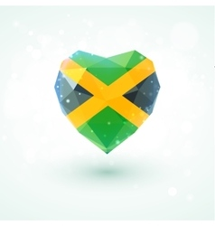 Flag of Jamaica in shape diamond glass heart vector