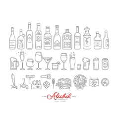 Flat alcohol icons vector