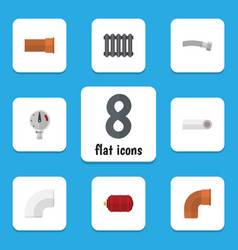 flat icon plumbing set of pressure heater vector image