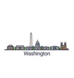Flat line washington banner vector