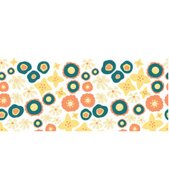 floral seamless repeat border teal orange vector image
