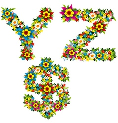 flower and bush letters 10 vector image