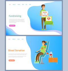 fundraising woman and table blood donation web vector image
