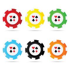 gambling chips set leisure vector image